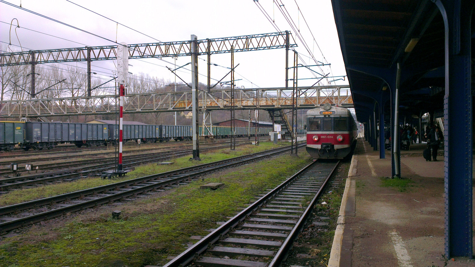 A train waits to depart for Wrocław
